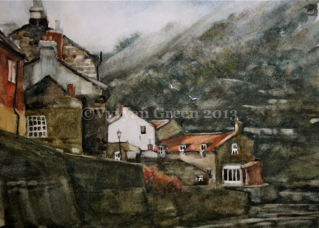 Watercolour painting of Staithes Beck - cottages, water -  North Yorkshire, by Vyvyan Green
