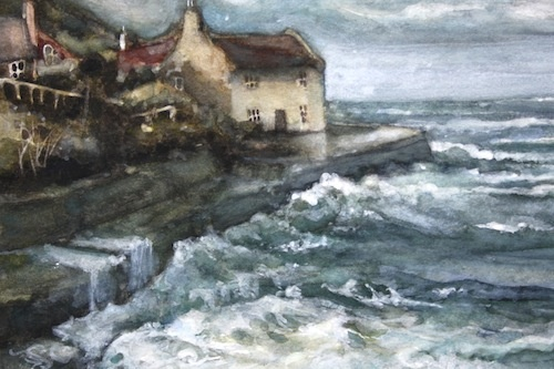 Art Card of a Watercolour by Vyvyan Green of a cottage beside the sea.