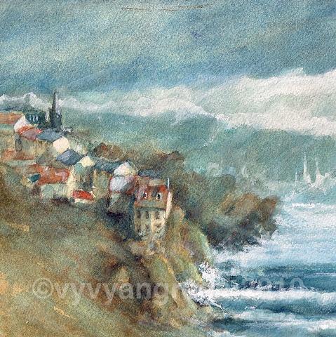 Coastal Village, sea, watercolour