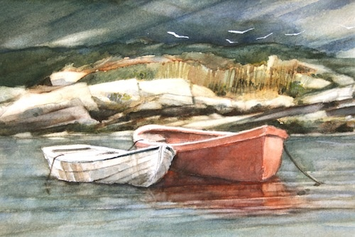 Art Card from a Watercolour by Vyvyan Green of two boats in Peggys Cove, Nova Scotia.
