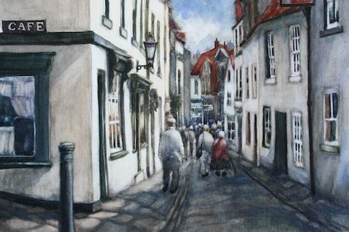 Art Card of a Watercolour Street scene by Vyvyan Green of cottages in Church Street, Whitby, North Yorkshire.