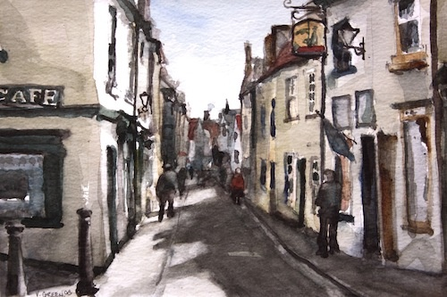 Art Card of a Watercolour by Vyvyan Green of cottages and a street scene, Whitby, North Yorkshire.