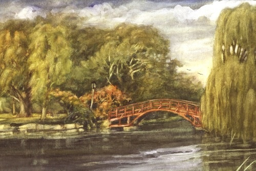 Art Card of a Watercolour by Vyvyan Green of Tom Patterson Island, Stratford, Ontario.