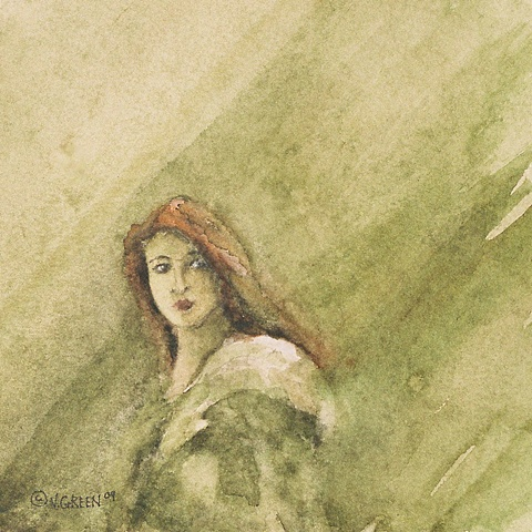 portrait, woman with red hair, watercolour