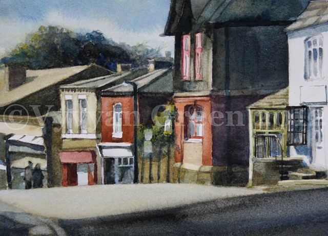 Watercolour painting of shops and houses on Queen Street, Horbury, West Yorkshire, by Vyvyan Green.