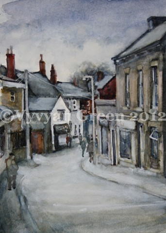 Watercolour street scape painting of shops and houses in Horbury, West Yorkshire.