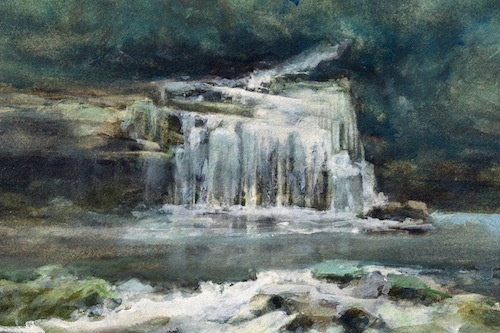 Art Card of a Watercolour by Vyvyan Green of Cauldron Force, West Burton, Yorkshire Dales.