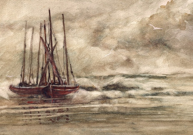 Fishing boats on beach, tide incoming, Watercolour