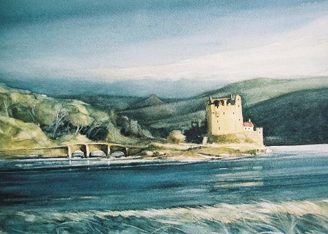 Eilean Donan Castle, Scotland, Watercolour