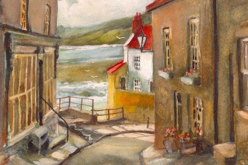 Art Card of a Watercolour by Vyvyan Green of Robin Hoods bay, North Yorkshire