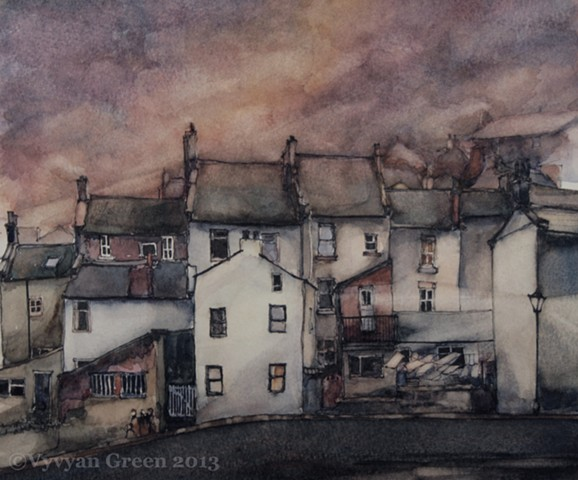 watercolour painting by Vyvyan Green of cottages in Staithes, Yorkshire...