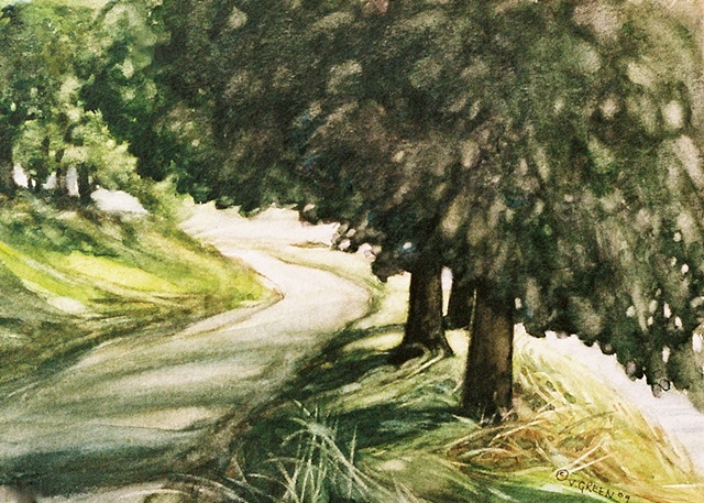 Watercolour painting Ladybower Dam trees and country lane  by Vyvyan Green