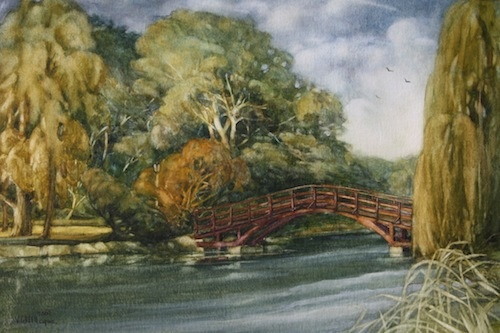Art Card of a Watercolour by Vyvyan Green of Tom Patterson Island, Stratford. Ontario