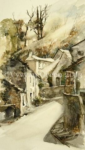Watercolour painting by Vyvyan Green of cottages and trees at West Burton, Yorkshire.