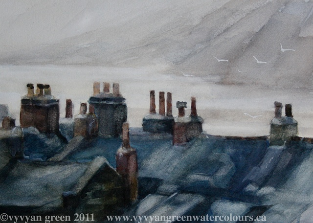 Watercolour painting of rooftops, sea, chimneys at Robin Hoods Bay, Yorkshire,  by Vyvyan Green
