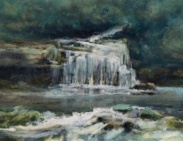Watercolour painting Cauldron Force, Waterfall and trees, rocks and water and reflections at West Burton, Yorkshire,  by Vyvyan Green