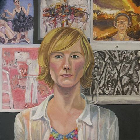 "Joy Bertinuson, Represent, Oil on Canvas, 25""x 25"", 2009."