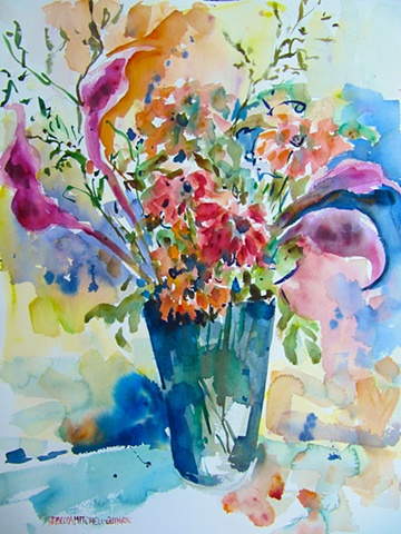Calla Lilies and Zinnias