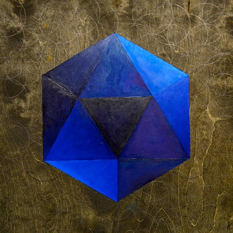 Blue icosahedron on dark-stained wood panel.