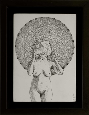 Female nude ink illustration with geometric polyhedron head piece and background polytope