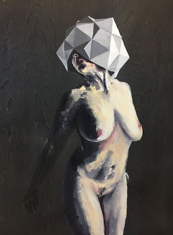 Oil painting of nude woman in geometric polyhedral headdress.