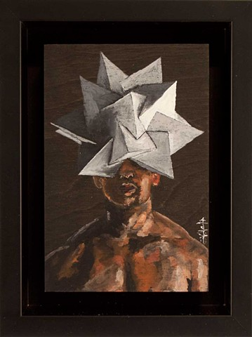 Painted portrait of a shirtless man wearing a polyhedral headpiece.
