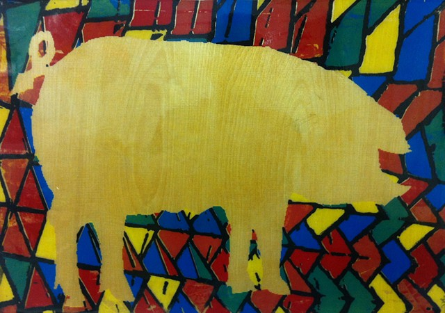 silhouette of a pig with a colorful mosaic-looking pattern in background