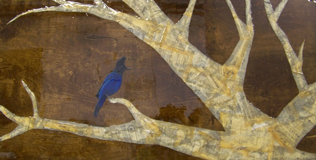 oil painted steller's jay bird on white collage tree on wood panel