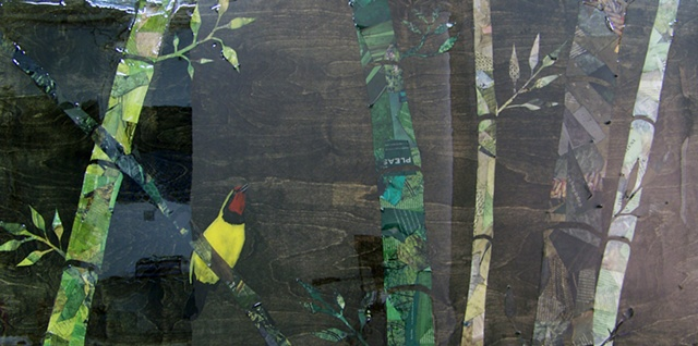 oil painted doherty's bush shrike bird with collage bamboo in varying shades of green on wood panel