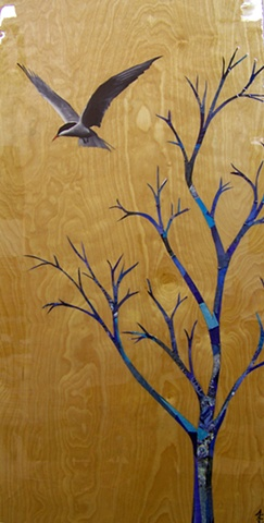 oil painted arctic petrel bird with blue collage tree