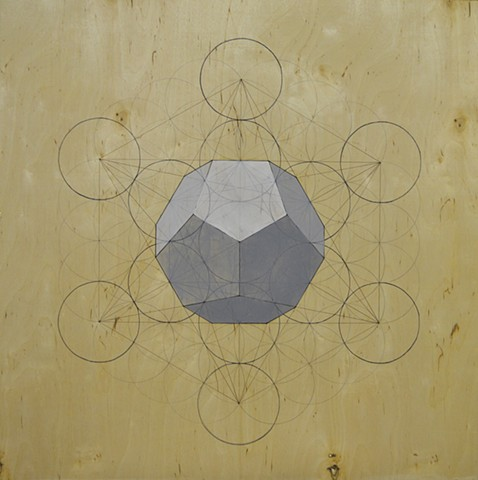 Grey dodecahedron on flower of life template