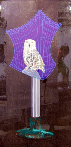 oil painted snowy owl bird on purple field of corset shaped cage on wood panel
