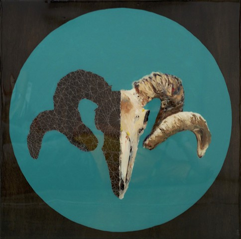 Ram skull oil painting split with a white geometric polytope pattern on turquoise colored circle on a black stained wood background.