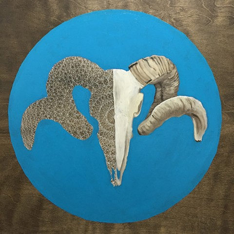 Ram Skull with Blue