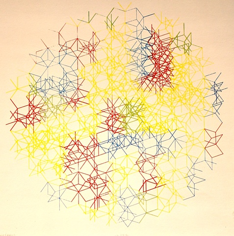 spheroid shape consisting of intricate intersecting lines of various stroke weights in overlapping primary colors