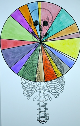 Circle with pie-like pieces in multiple colors with a upper torso of human skeleton overlay