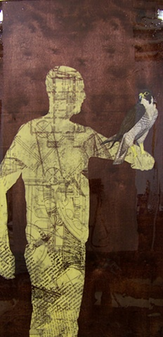 screen printed silhouetted of man of field of various text samples with oil painting of peregrine falcon bird on panel
