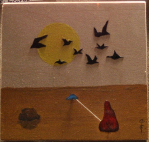 Small surreal painting and collage with birds and string.