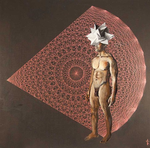 Painting of a nude male wearing a polyhedral head piece, standing against a partial pink polytope on a black backdrop, gazing to the viewer's left.