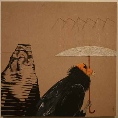 Painted image of a california condor holding an umbrella next to screened Chicago aqua building.