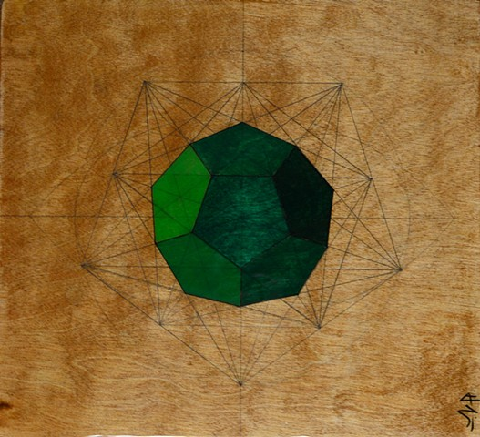 Green dodecahedron created using sacred geometry technique