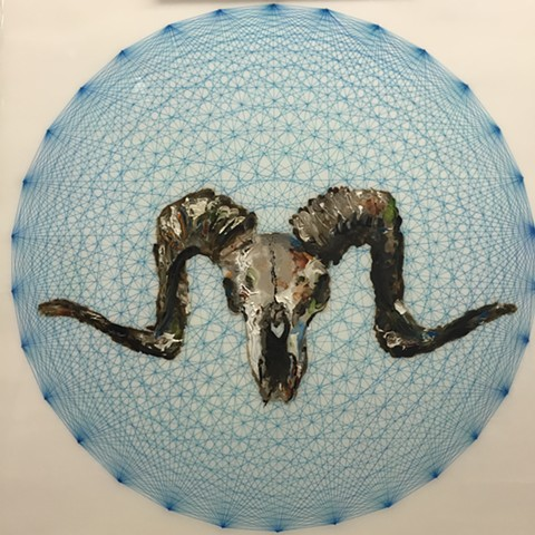 Oil painting of a decaying ram skull on a blue geometric polytope on a white background.