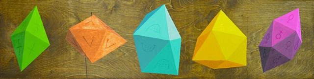 Five polyhedra (convex deltahedra) in green, copper, light blue, yellow and magenta)