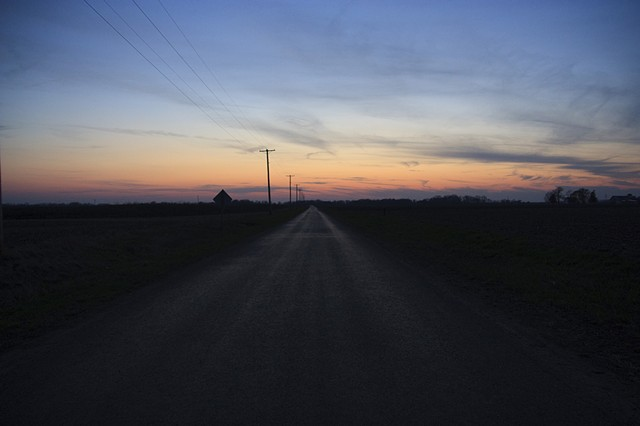 sunset, off Route 66, Illinois