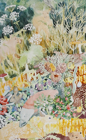 Detail showing baby moose, elk horsetail, cow parsnip, honeycomb, pine nuts, fawn, beaver, bearberry, cranberry, gooseberry, buffalo berry, wild salmon, dandelion, glacier lily and mushrooms by jenn houle