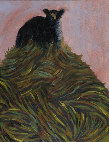 Oil painting of a black bear ontop of a hill by Jenn Houle