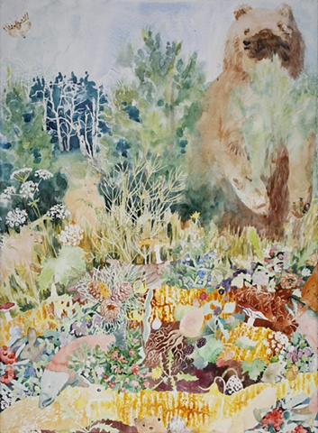 Painting of a grizzly bear and the trophic levels, the food that it eats including wild carrot, wild parsnip, deer, fawn, baby elk, wild salmon, mushrooms, pine nuts, beaver, crayfish, rabbit, bunny, bird eggs, worms, blueberries, blackberries raspberries