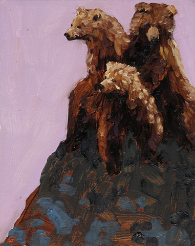 Small oil painting of three grizzly bear cubs by jenn houle