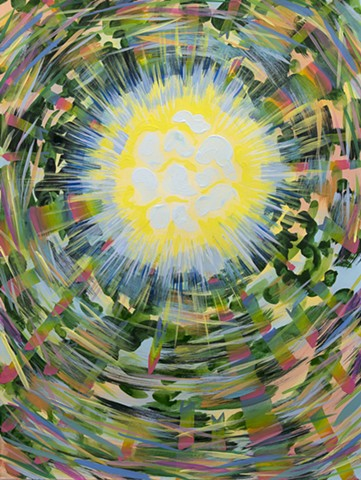 Pine trees with sunlight, abstract painting, sun