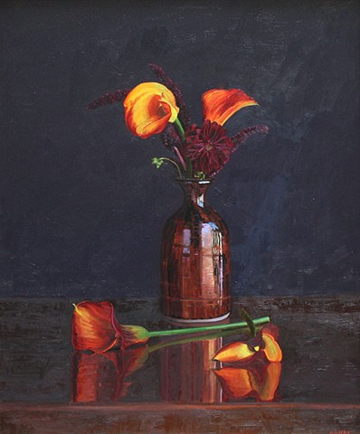 Flowers in Copper Vase